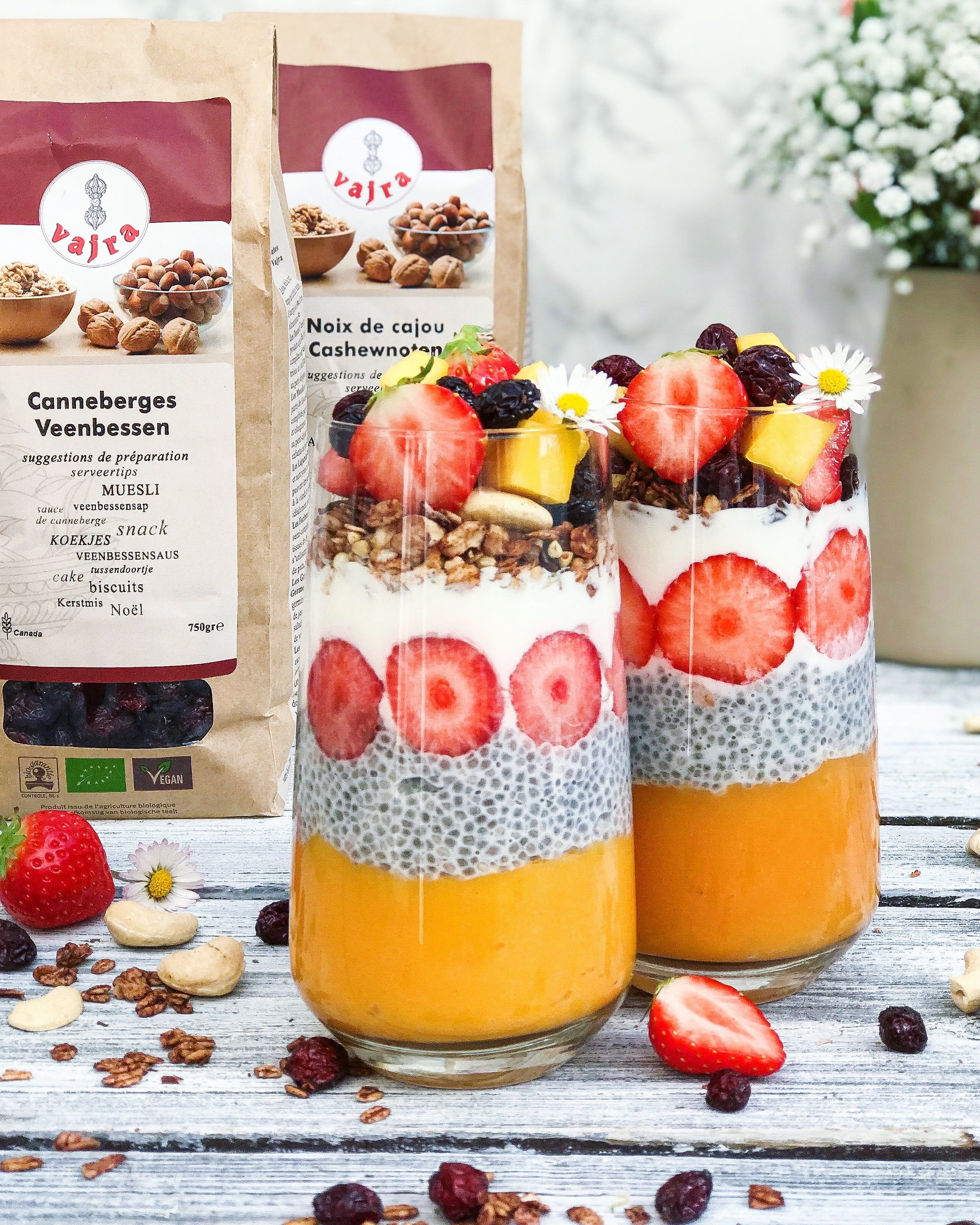 Smoothie mangue, coco, chia
